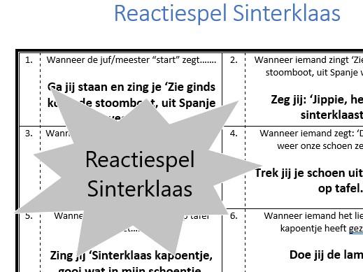 Reactiespel Sinterklaas