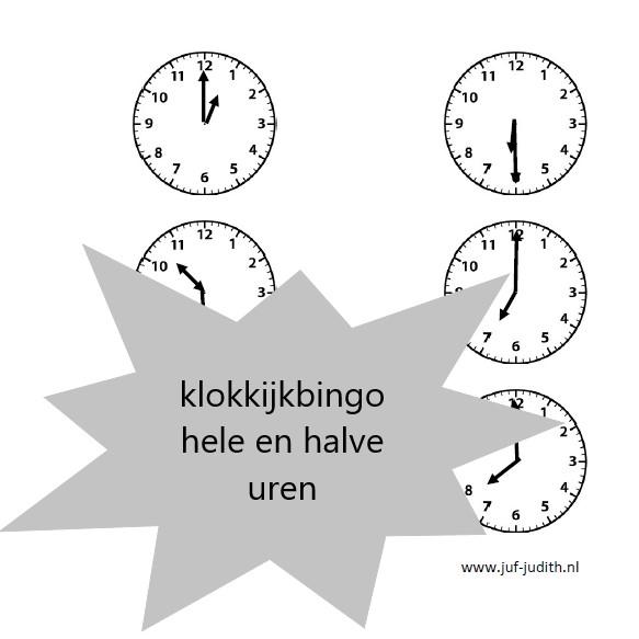 Klokkijkbingo - hele en halve uren