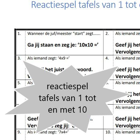 Reactiespel tafels van 1 tot en met 10