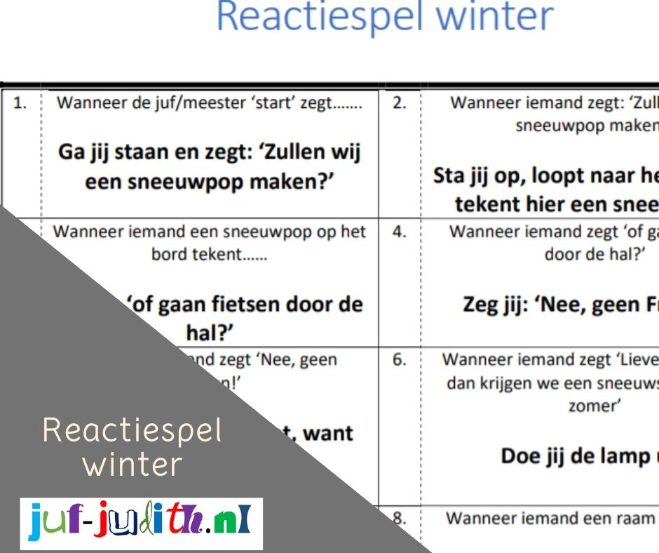 Reactiespel winter