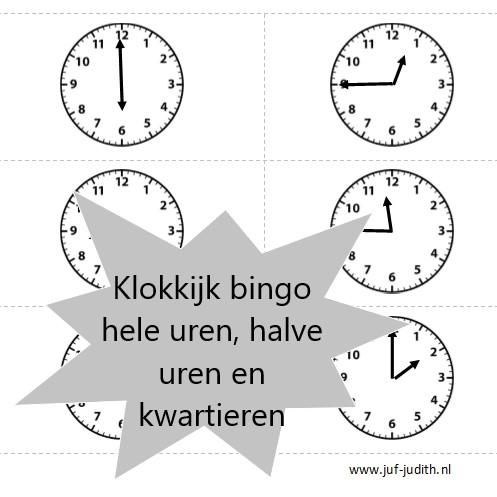 Klokkijk bingo - hele uren, halve uren en kwartieren
