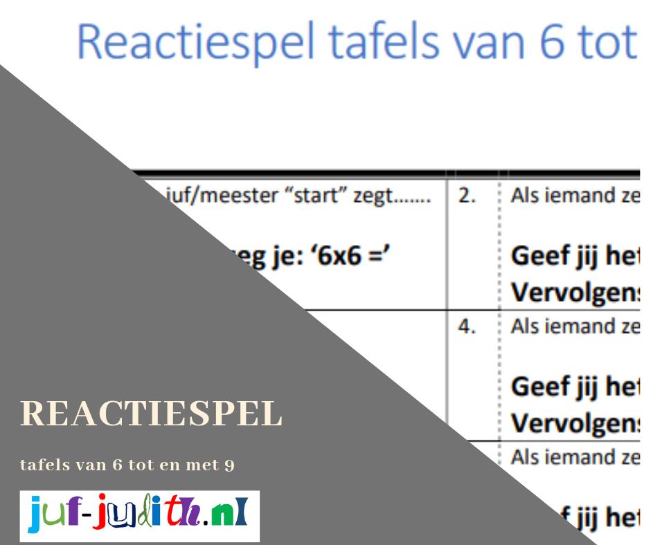 Reactiespel tafels van 6 tot en met 9