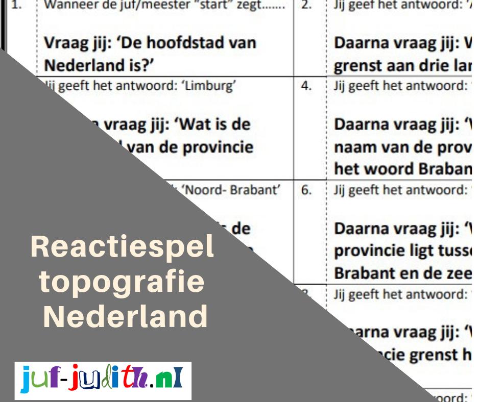 Reactiespel topografie Nederland