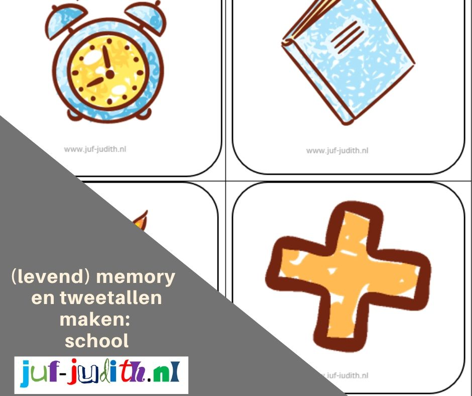 Tweetallen maken en memory thema school