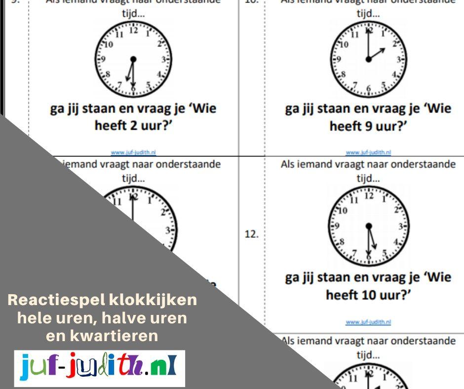Reactiespel klokkijken - hele uren, halve uren en kwartieren