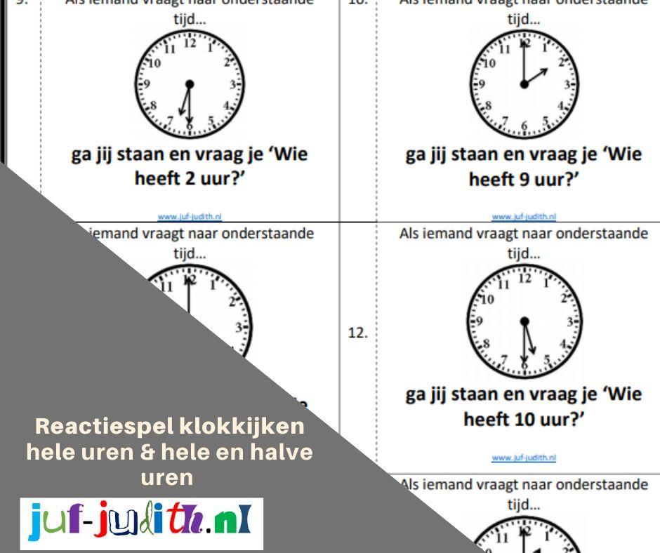 Reactiespel klokkijken - hele uren & hele- en halve uren